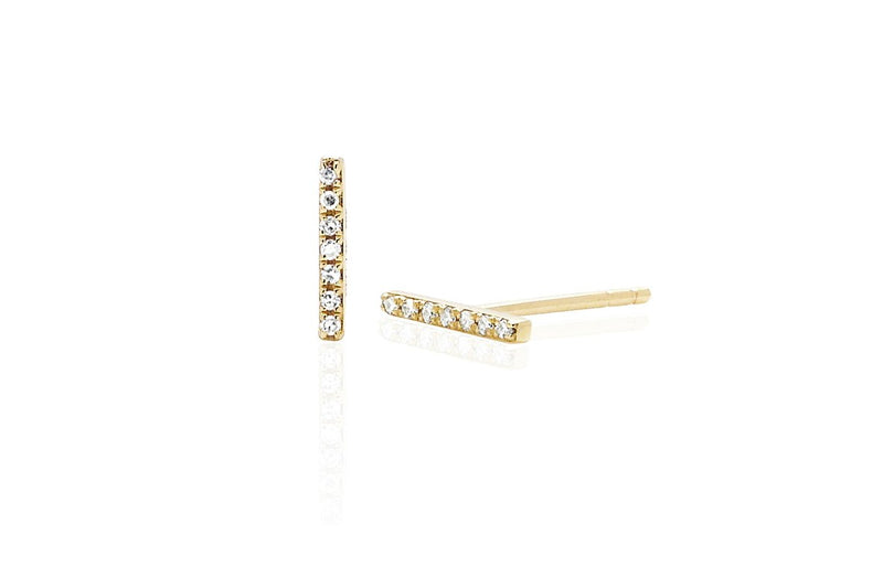 E F COLLECTION 14k diamond Bar Stud Earrings