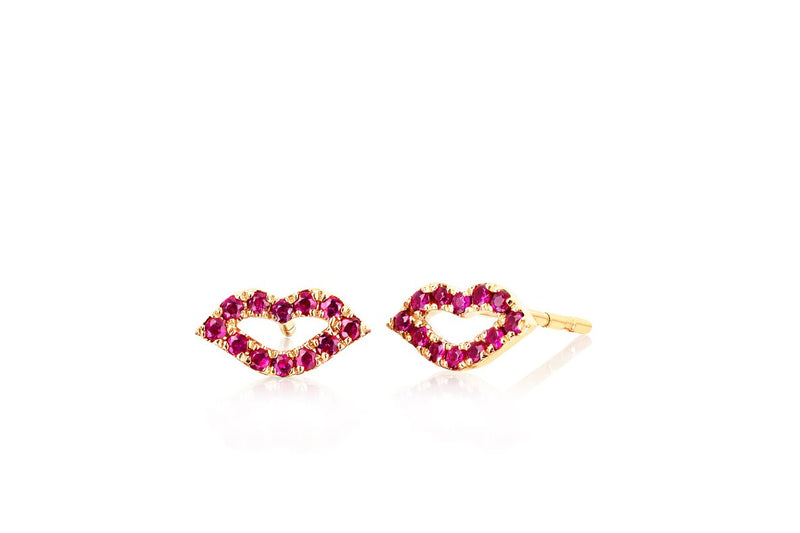 E F COLLECTION Ruby Kiss Stud Earrings