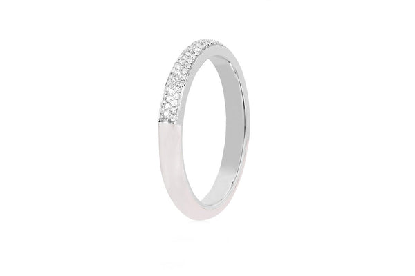 Two Tone Diamond & White Enamel Ring