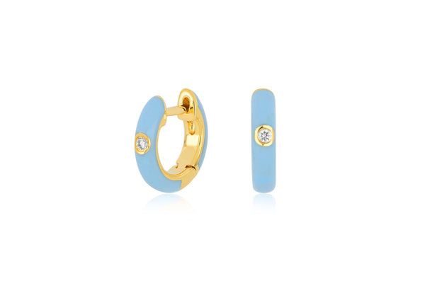 EF COLLECTION Diamond Baby Blue Enamel Huggie Earrings