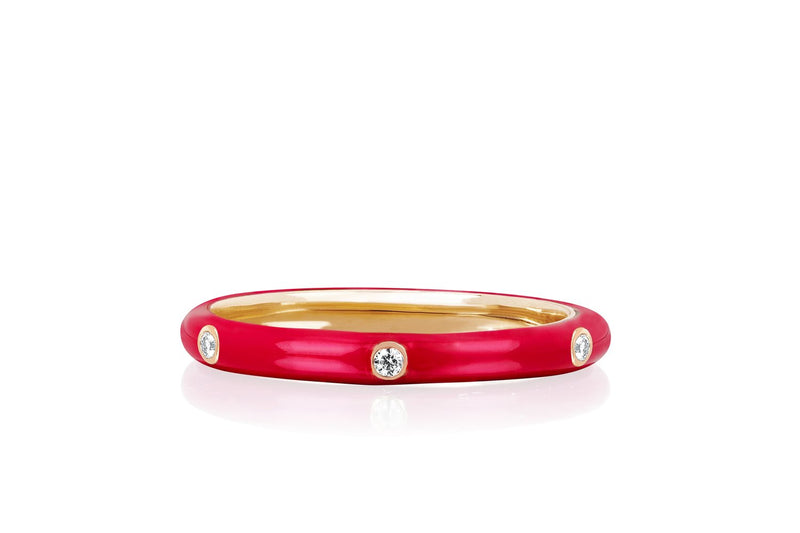 EF COLLECTION 3 Diamond Enamel Ring-Red