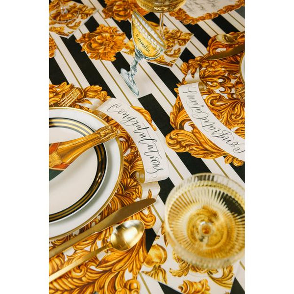 Black & Gold Awning Stripe Table Runner