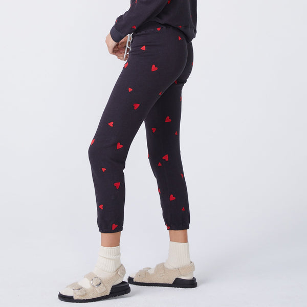 MONROW Embroidered Heart Vintage Sweatpants