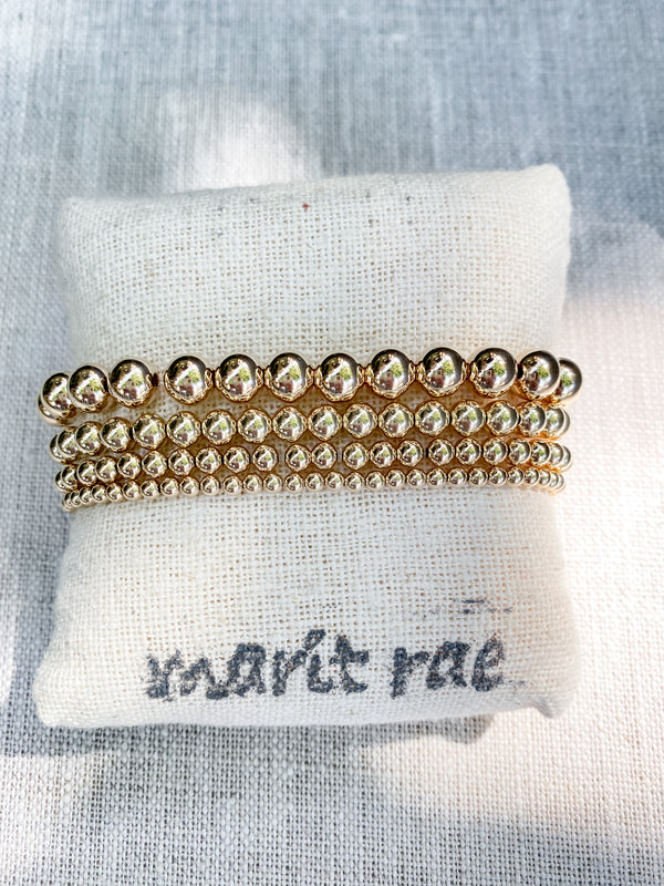 MARIT RAE 7mm Large Gold Bead Bracelet