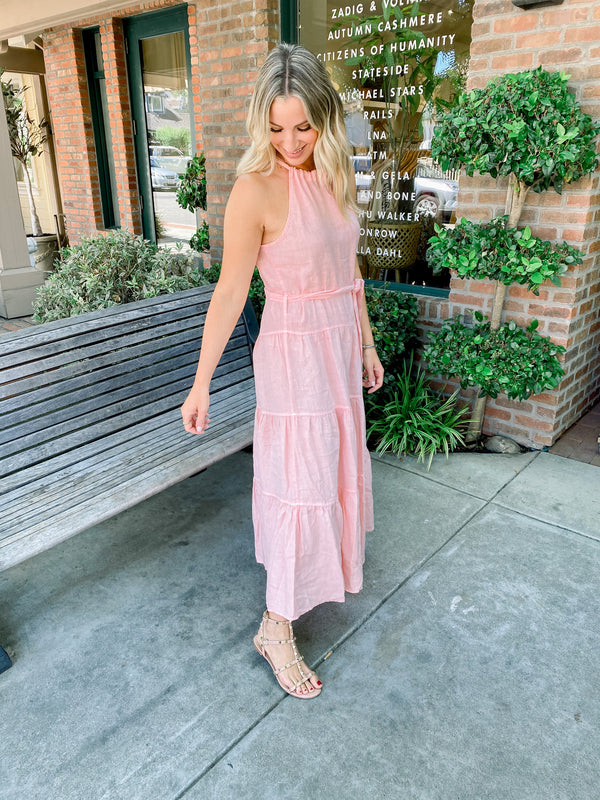 BELLA DAHL Linen Halter Maxi Dress