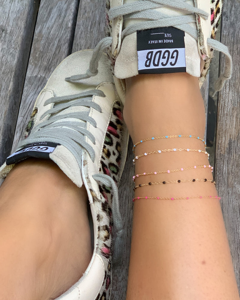 MARIT RAE Enamel Beaded Anklet - White