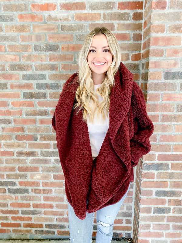 Hooded Cozy Cardigan - chocolate cherry