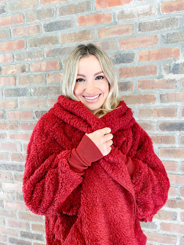 Hooded Cozy Cardigan - red velvet
