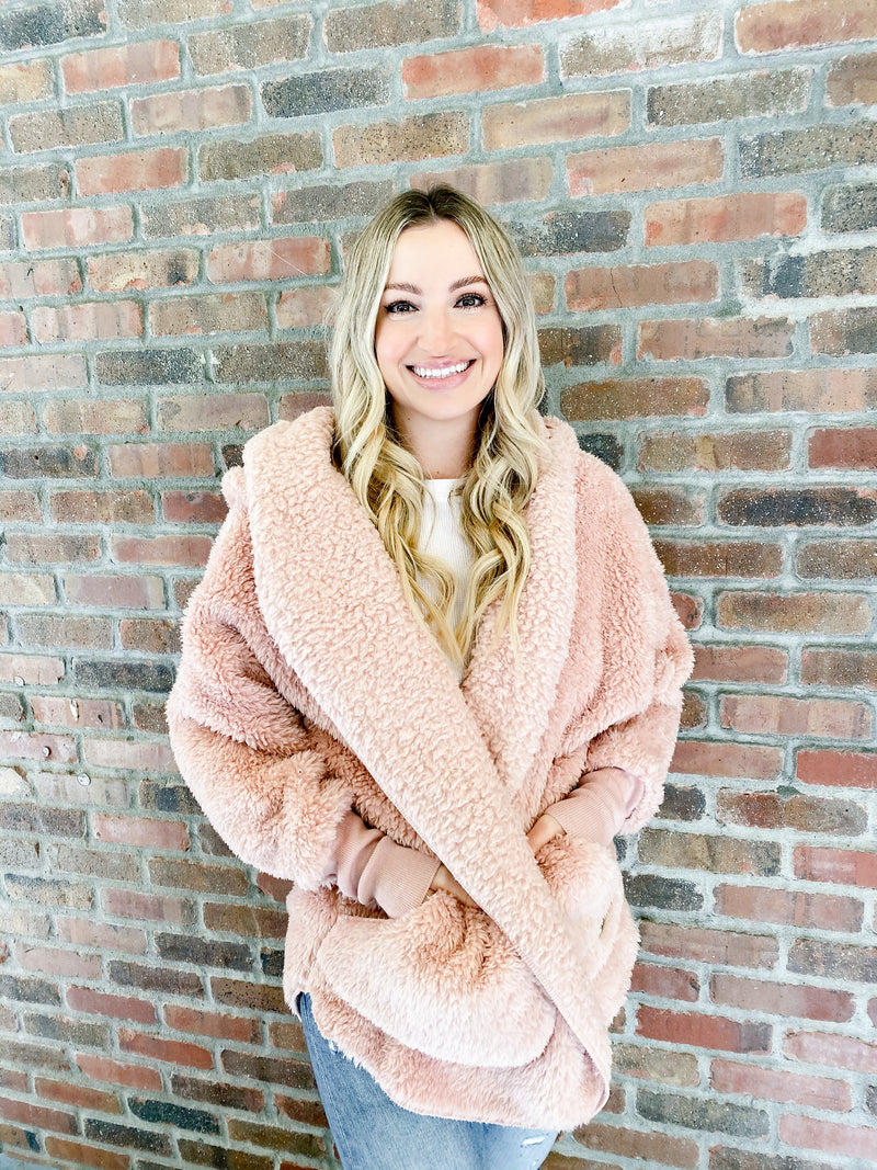 Hooded Cozy Cardigan - blush wine