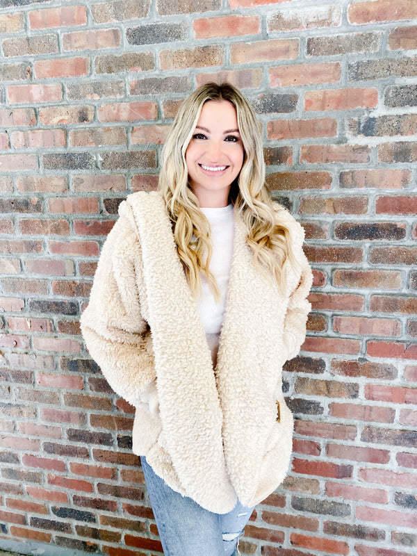Hooded Cozy Cardigan - fluffy frappe