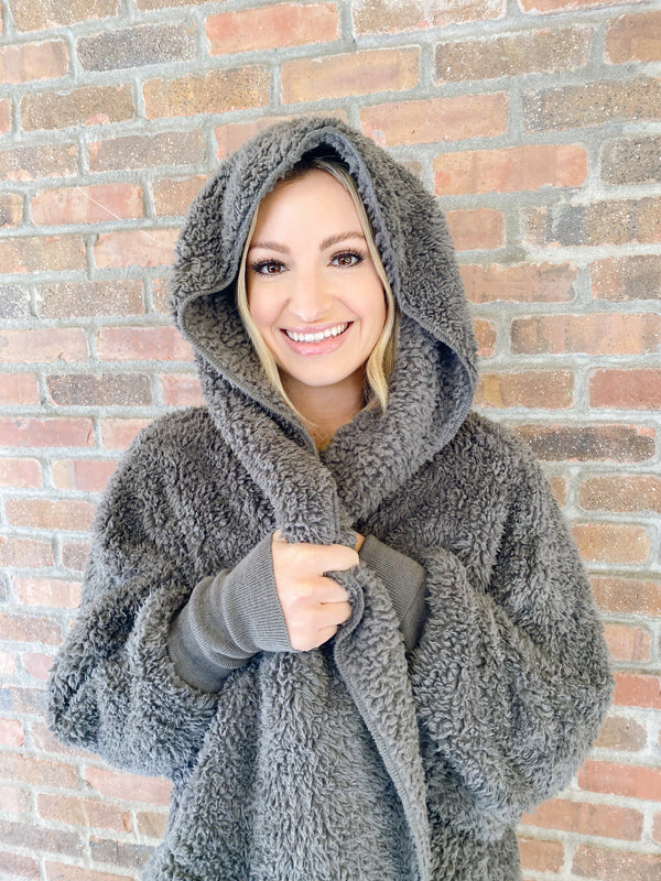 Hooded Cozy Cardigan - Koala Gray