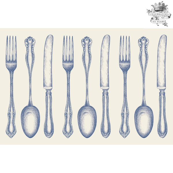 HESTER & COOK Vintage Blue Cutlery Placemat
