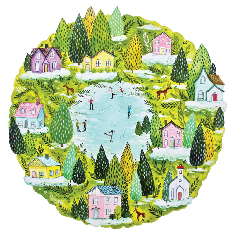 HESTER & COOK Die Cut Winter Village Placemat