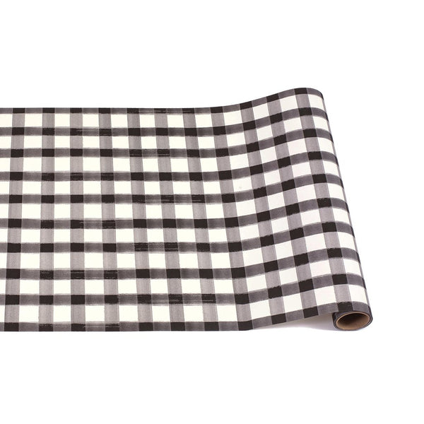 HESTER & COOK Black Painted Check Runner