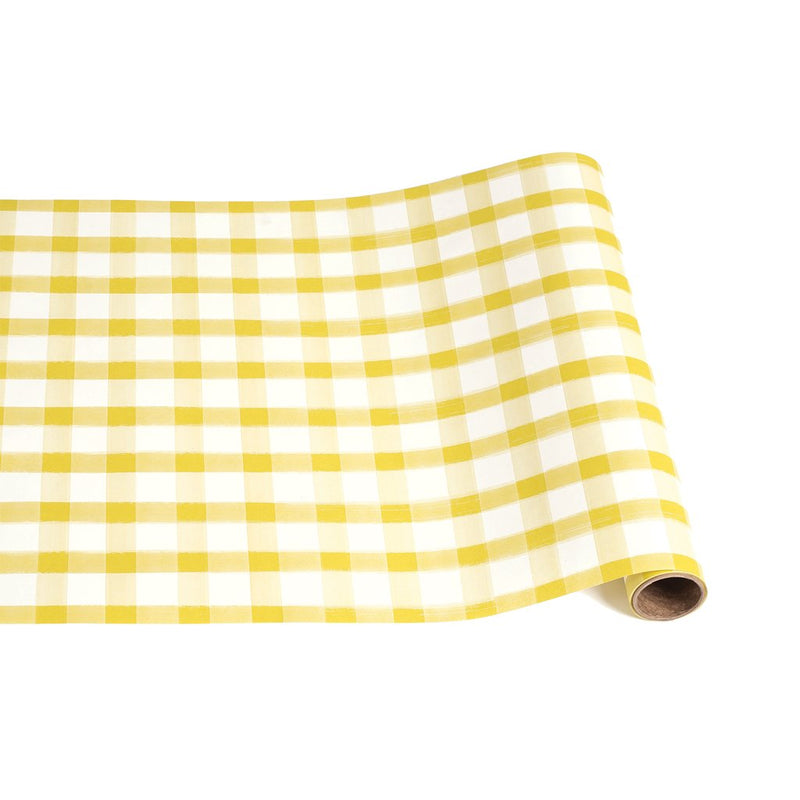 HESTER & COOK Yellow Painted Check Table Runner