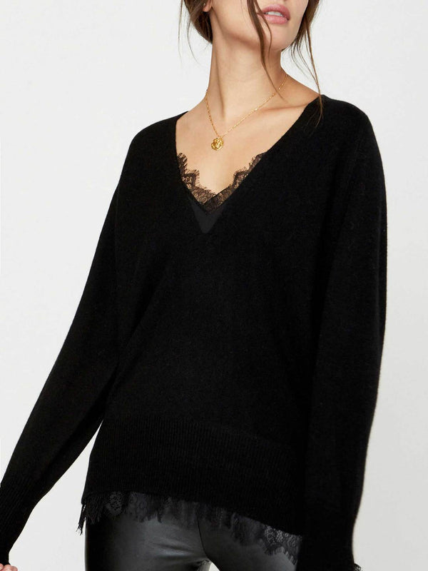BROCHU WALKER The Looker Layered Lace V-Neck