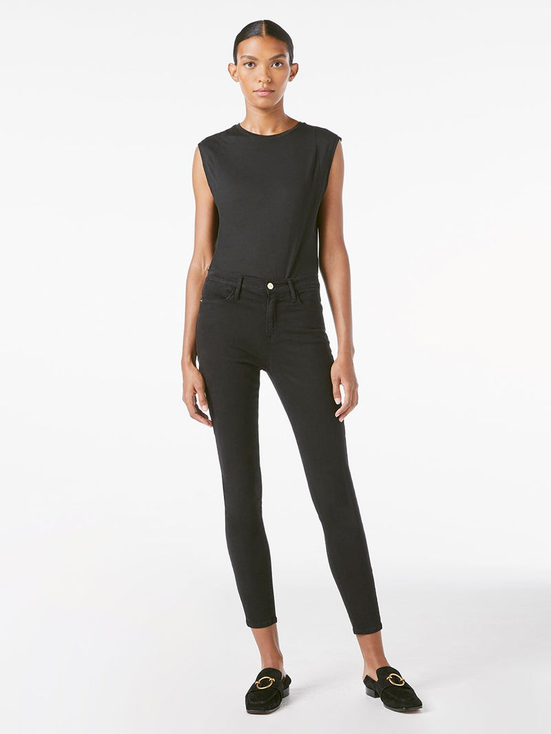 FRAME Le High Skinny Sateen Noir