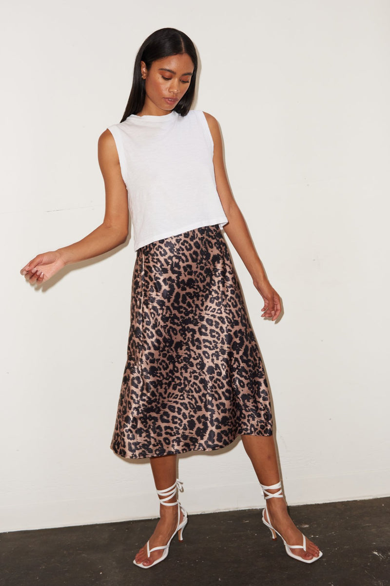 LNA Leopard Bias skirt
