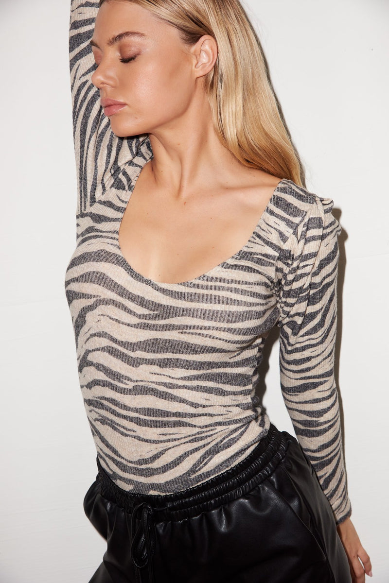 LNA Lou Bodysuit in Zebra