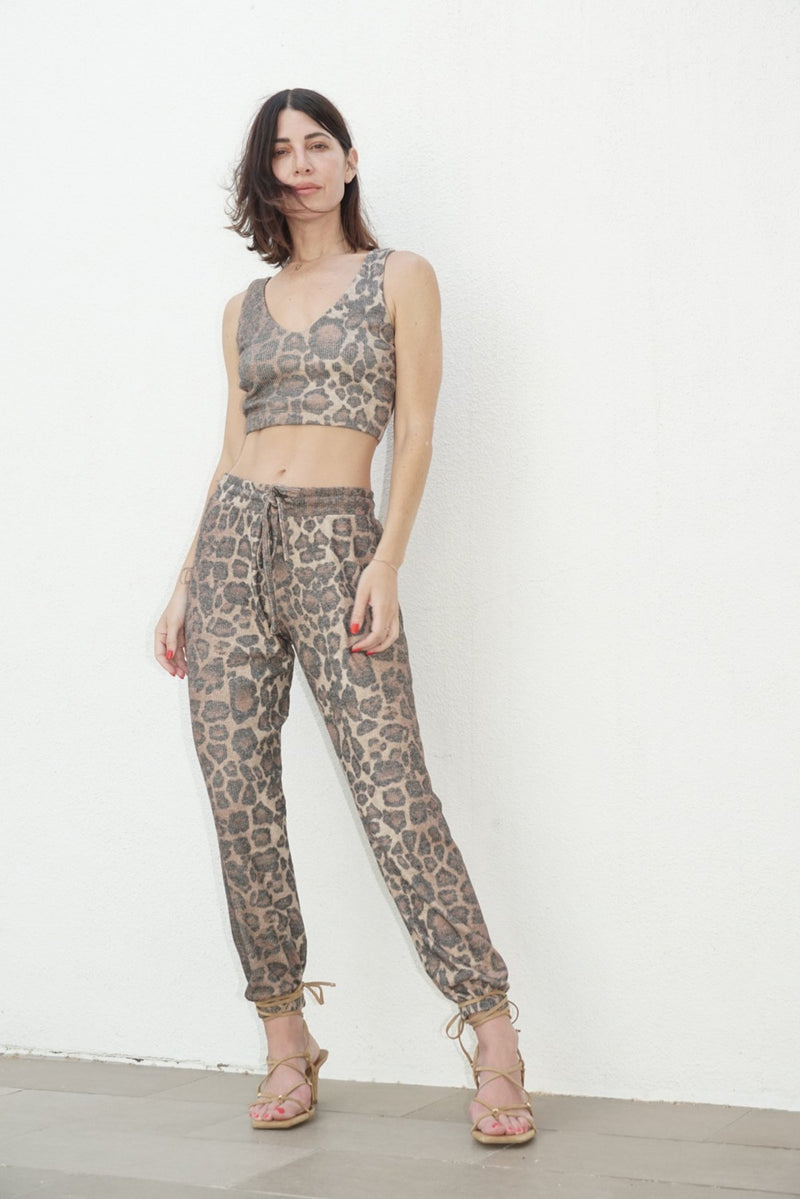 LNA Brushed Rib Pant in Leopard
