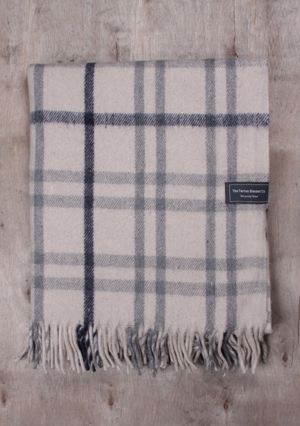 Light Grey Check Recycled Wool Tartan Blanket