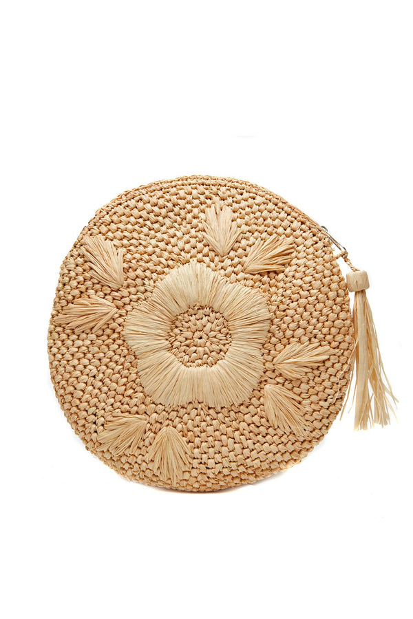 MAR Y SOL Luna Raffia Circle Clutch
