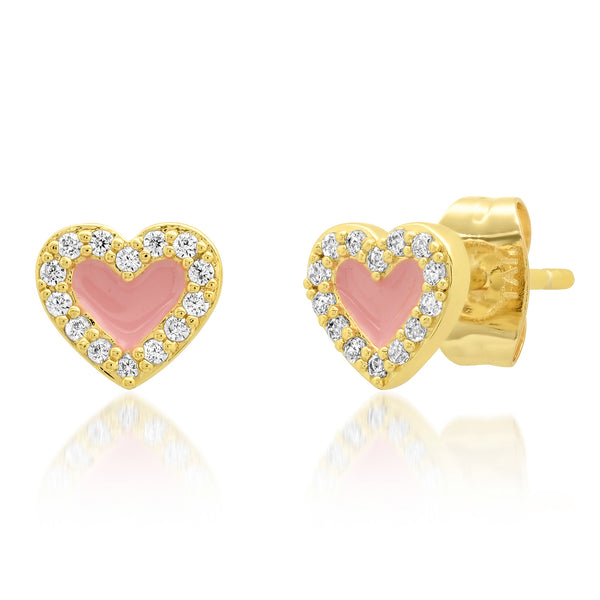 Pink Enamel Heart Post earrings with CZ Frame