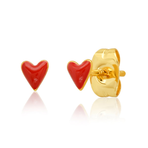 Red Enamel Puffy Heart Stud Earrings