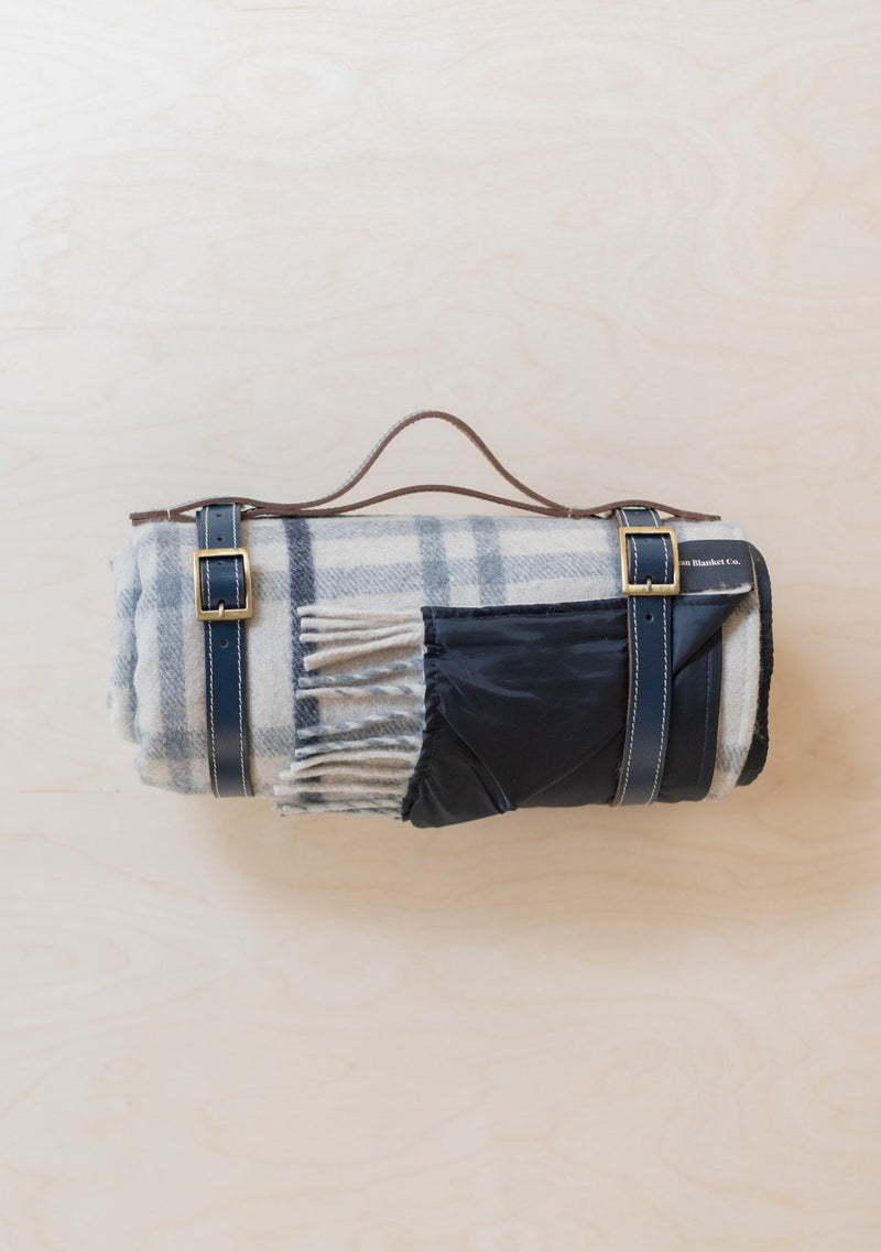 Tartan Wool Picnic Blanket With Strap