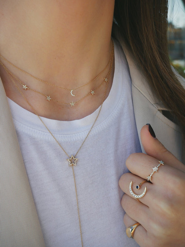 E F COLLECTION Diamond Moon Choker Necklace