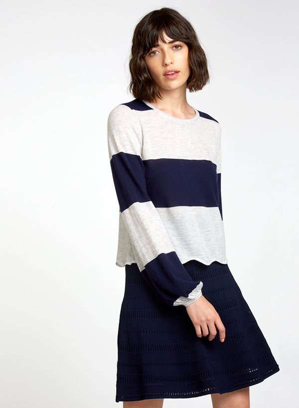 AUTUMN CASHMERE Stripe Scallop Edge Puff Sleeve Sweater
