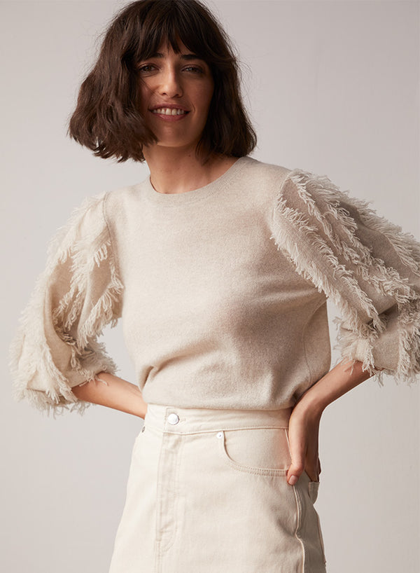 AUTUMN CASHMERE Frayed Puffed Sleeve Sweater