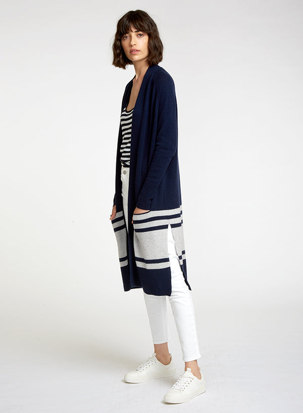 AUTUMN CASHMERE Border Striped Open Coatigan