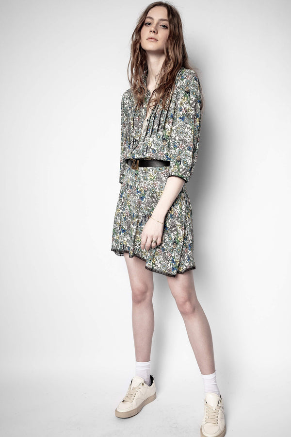 ZADIG & VOLTAIRE Raspail Crinkle FLower Dress