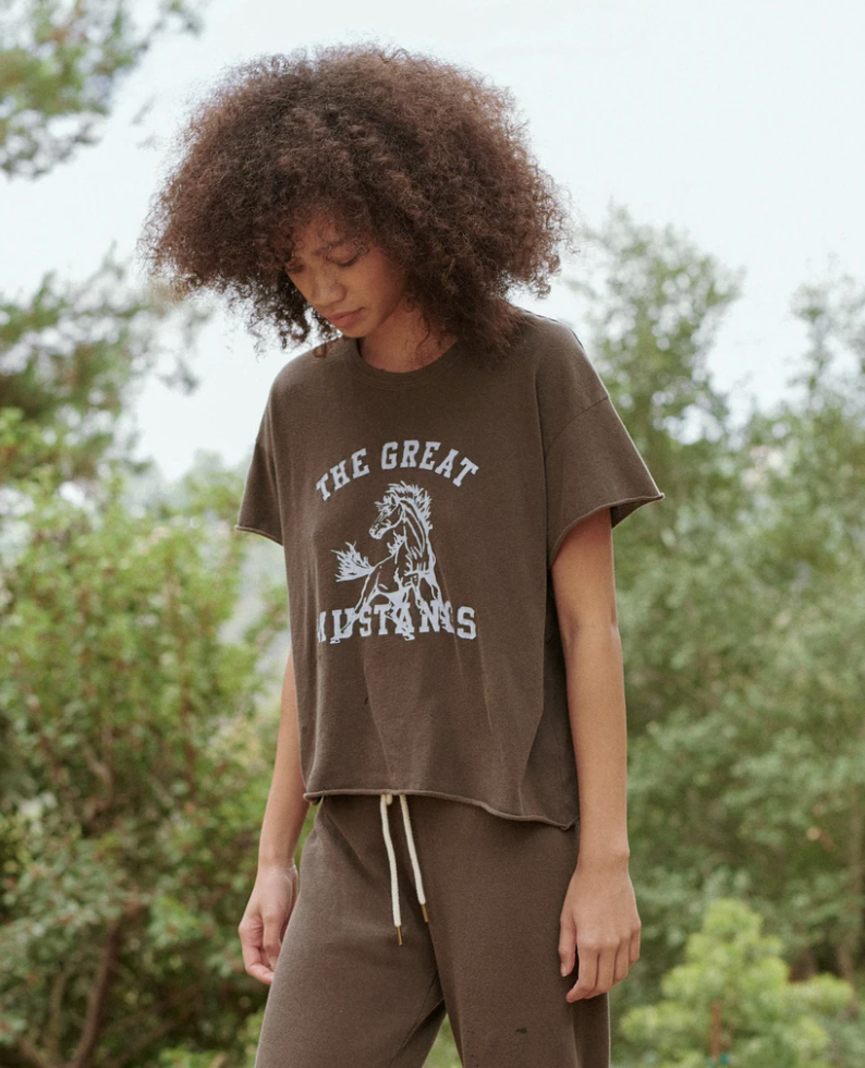 THE GREAT The Crop Tee Mustang Graphic