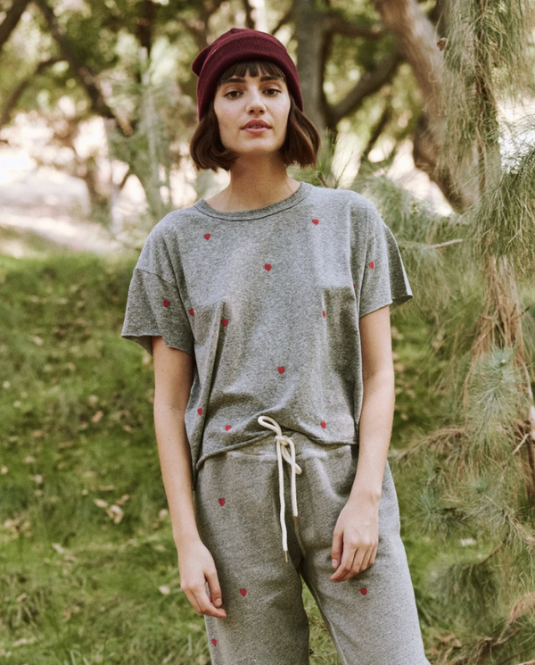 The Crop Tee With Heart Embroidery