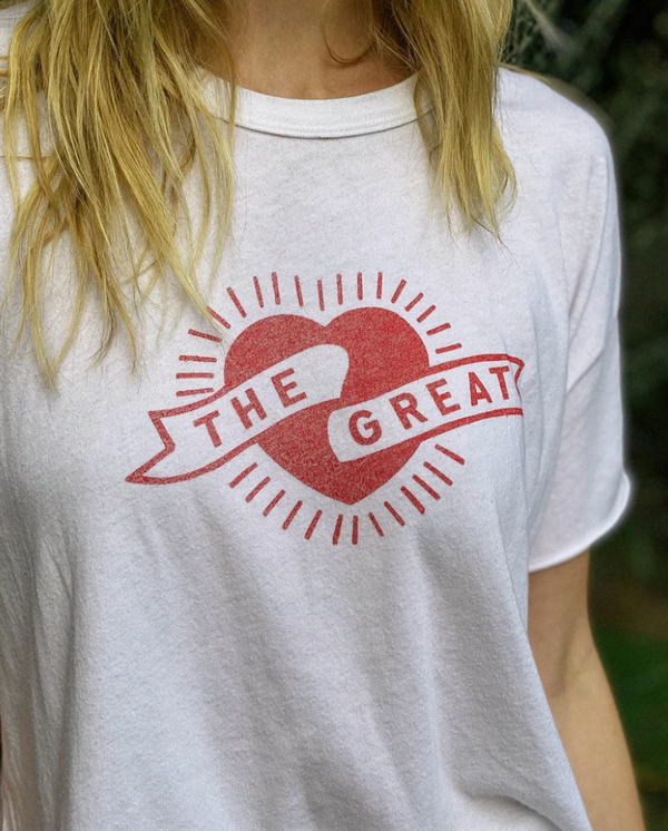 THE GREAT Crop Tee with Mini Heart Graphic