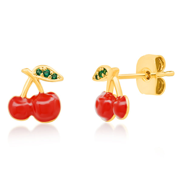 Red Enamel Cherry Post Earring
