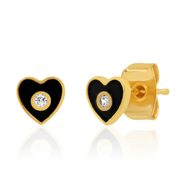 Black Enamel Heart post Earrings
