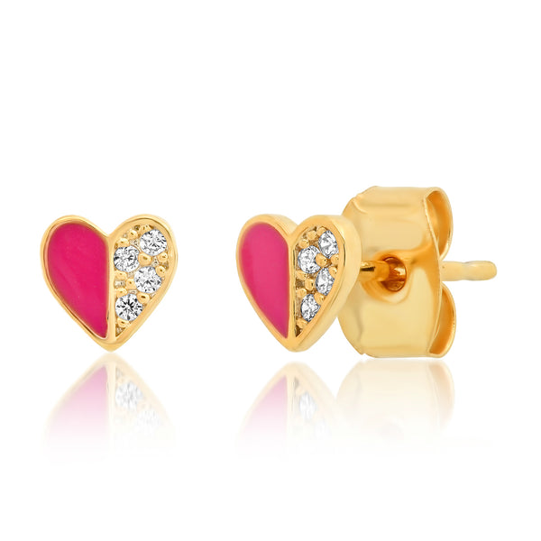 Pink Enamel Heart Post Earrings
