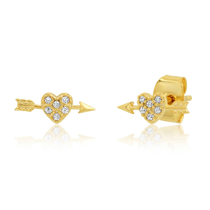 Gold CZ Heart with Arrow Stud Earrings