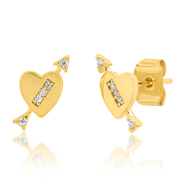 Heart with CZ Arrow Stud Earrings