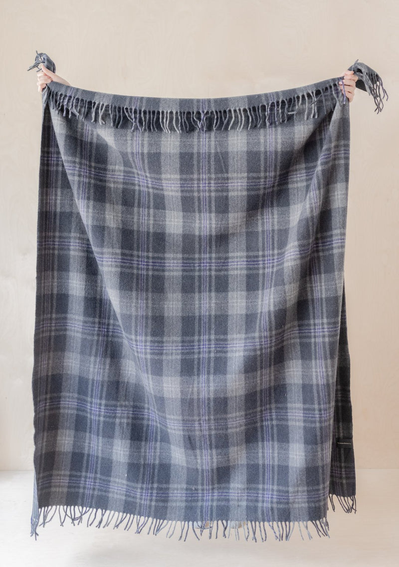 Persevere Flint Grey Recycled Wool Tartan Blanket