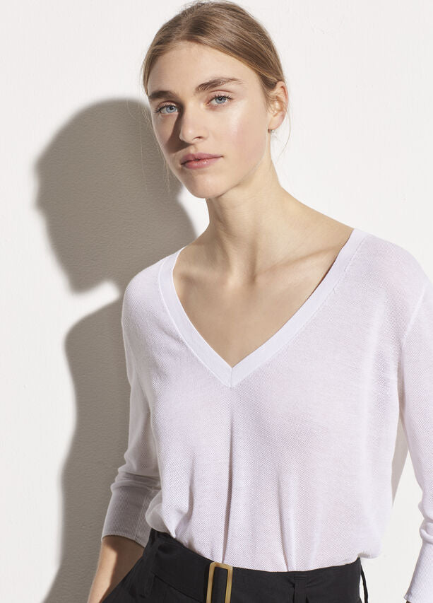 VINCE Three-Quarter Sleeve V-Neck Sweater