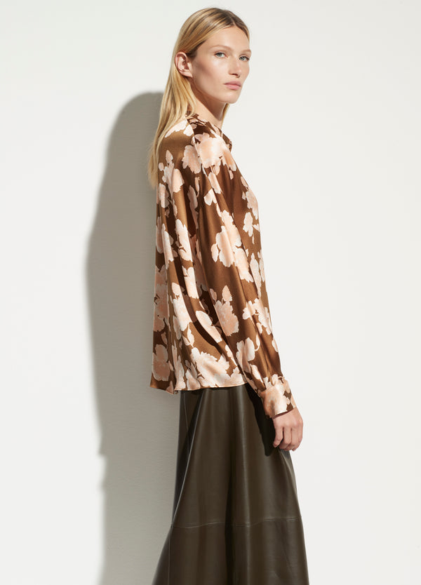 VINCE Tapestry floral popover blouse