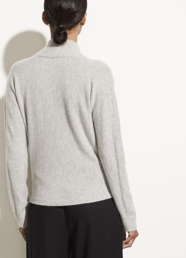 VINCE Boiled Cashmere Wrap Front Pullover Sweater