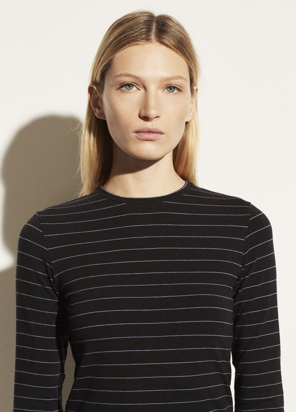 Pinstripe Long Sleeve Crewneck Tee