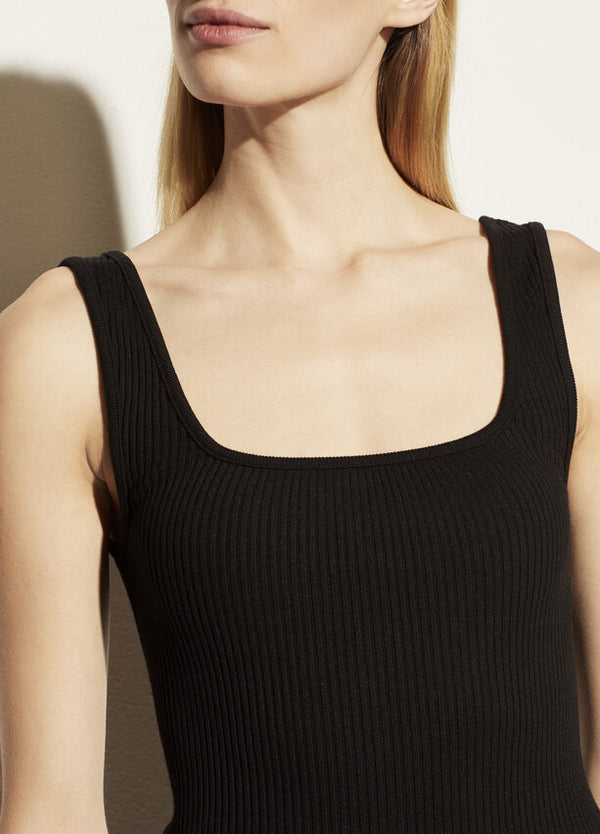 VINCE Ribbed Square Neck Tank