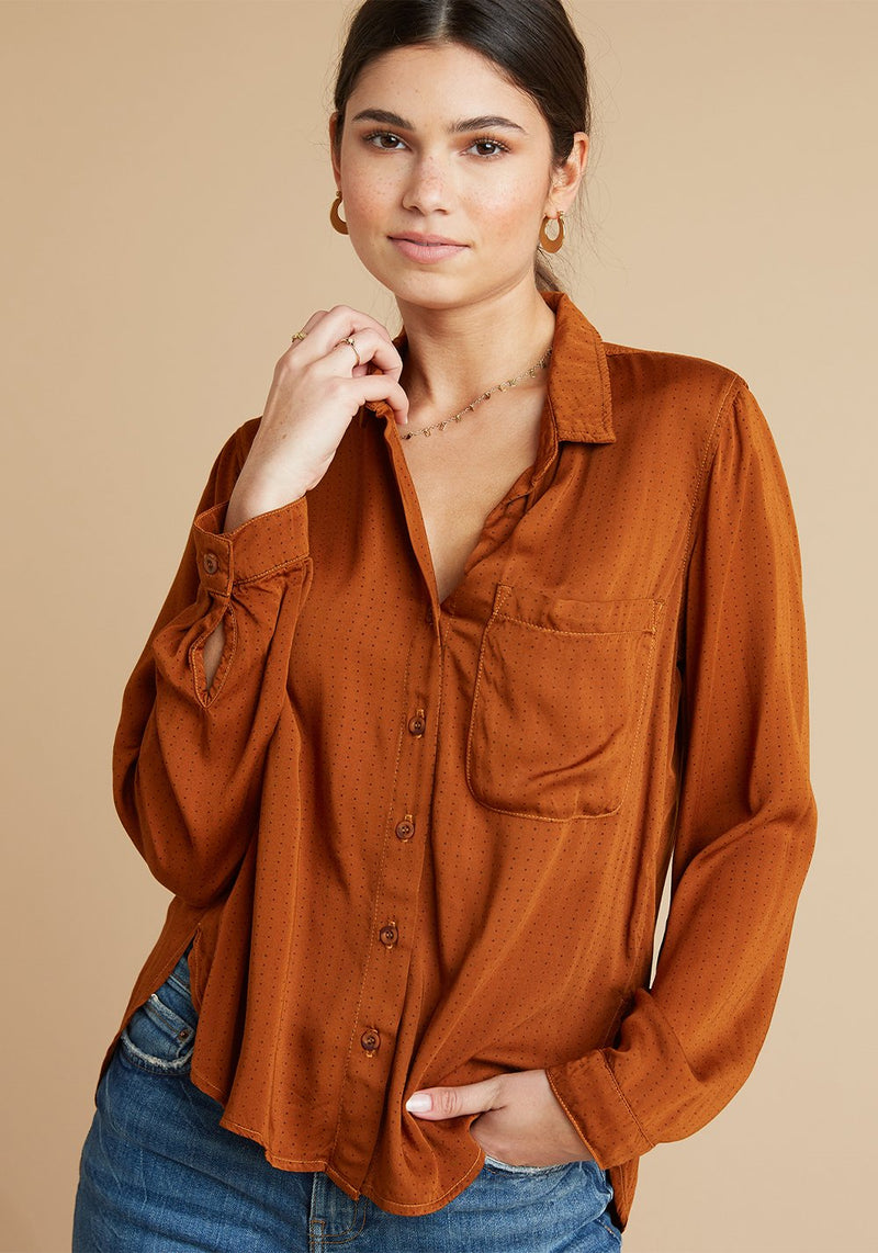 Rounded Hem Pocket Button Down Top
