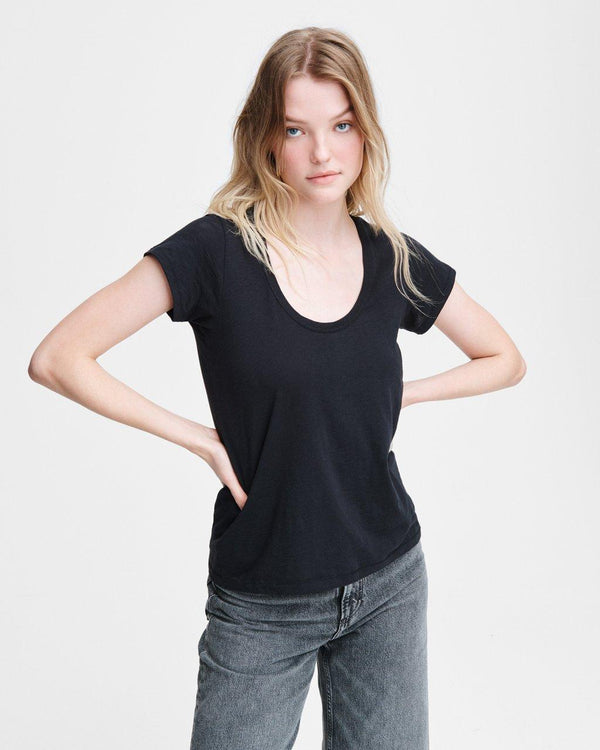 RAG & BONE U neck tee - black